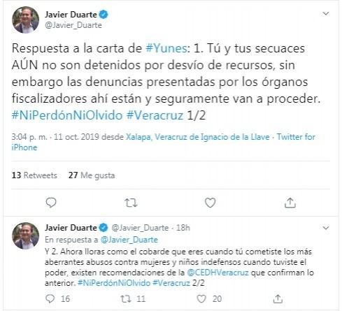 Responde Javier Duarte a carta de Yunes Linares